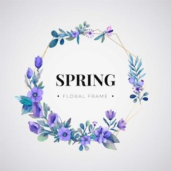 Tema de marco floral acuarela primavera