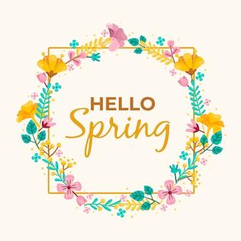 Tema de marco floral de primavera de diseño plano