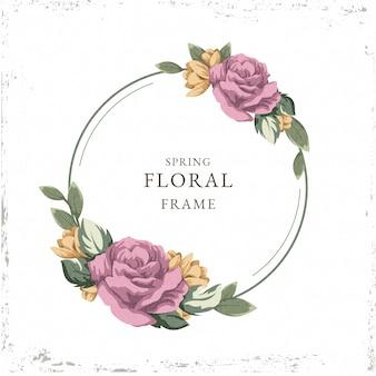 Tema de marco floral de primavera vintage