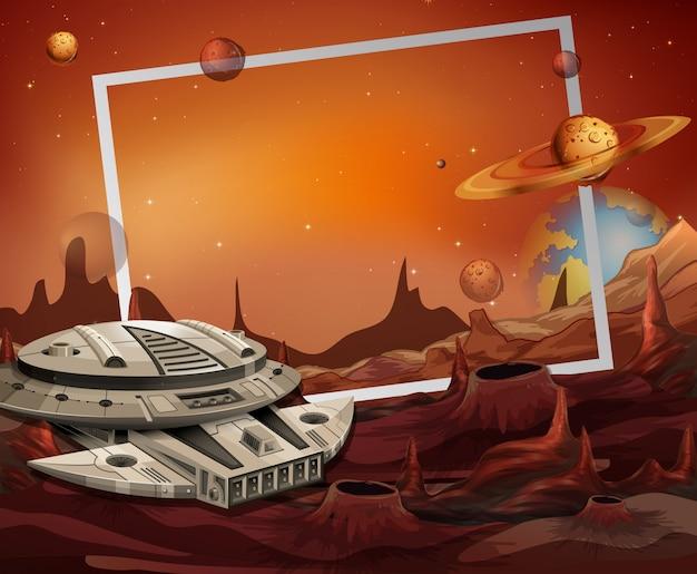 Tema del marco de nave espacial y espacio exterior