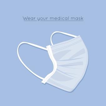 Tema de máscara médica de diseño plano
