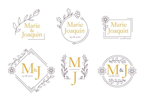 Tema de monogramas de boda floral
