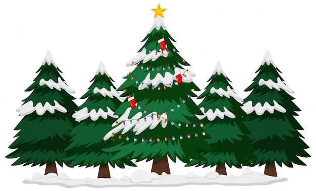 Tema de navidad con árbol de navidad en invierno
