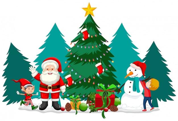 Tema de navidad con santa y muñeco de nieve