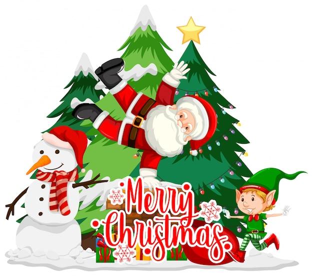 Tema de navidad con santa y muñeco de nieve vector gratuito