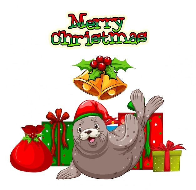 Tema de navidad con sello y regalos