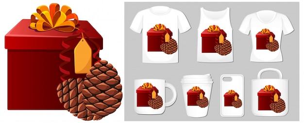 Tema navideño con caja de regalo en plantillas de productos
