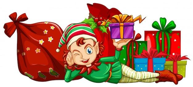 Tema navideño con cajas de regalo y elfo.