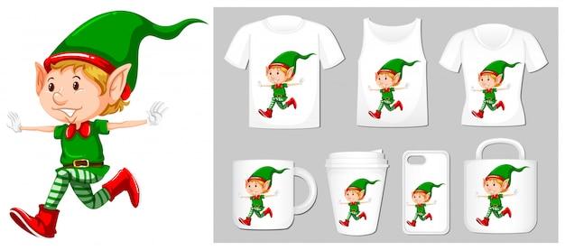 Tema navideño con duende navideño en muchos productos vector gratuito