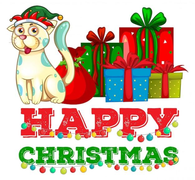 Tema navideño con gato y regalos de navidad.