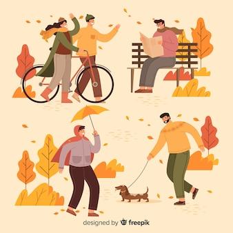 Tema de otoño de ilustración en el parque
