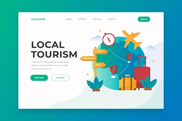 Tema de página de destino de turismo local