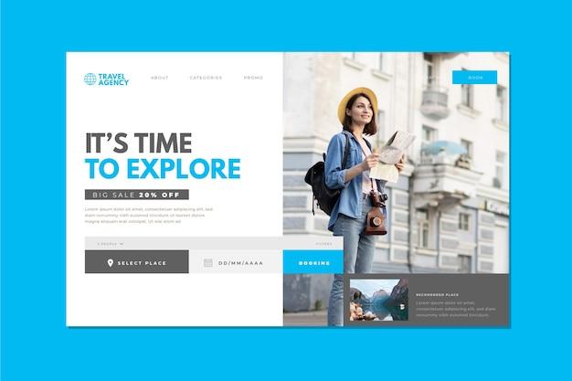 Tema de página de destino de venta de viajes