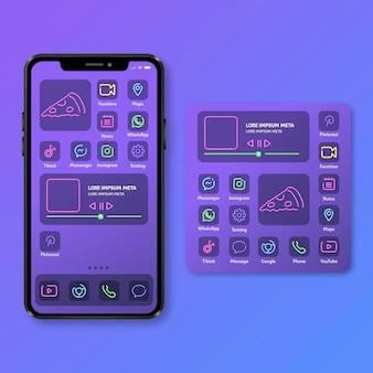 Tema de pantalla de inicio de neón para teléfono inteligente