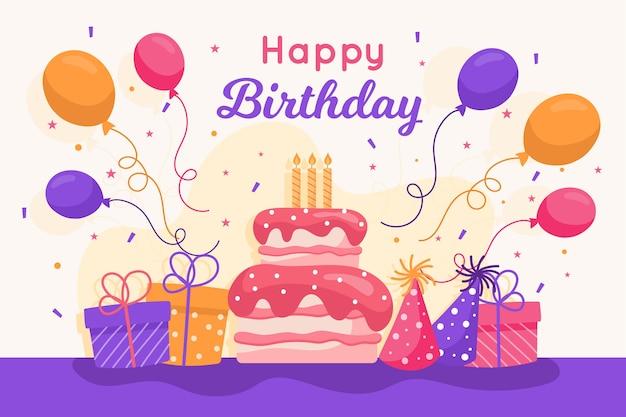 Tema de papel tapiz de cumpleaños de diseño plano