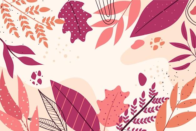 Tema de papel tapiz floral abstracto de diseño plano