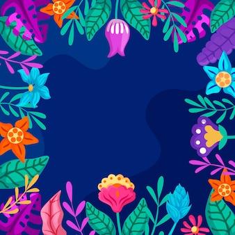 Tema de papel tapiz floral de diseño plano