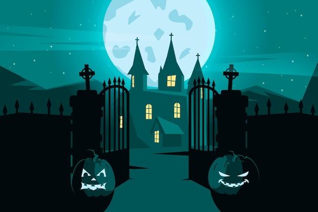 Tema de papel tapiz de halloween de diseño plano