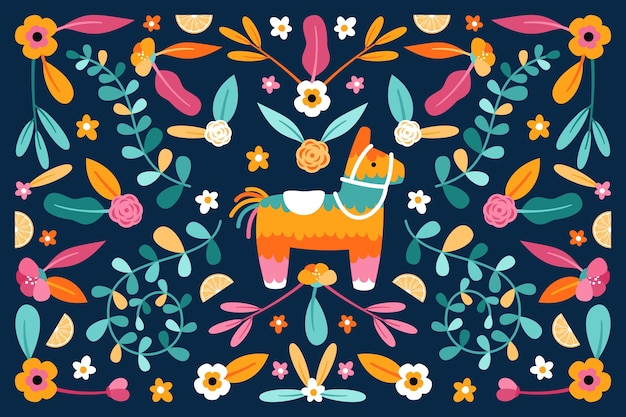 Tema de papel tapiz mexicano colorido diseño plano