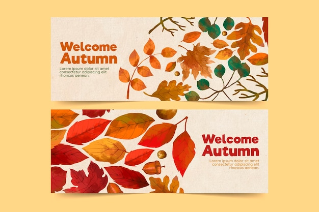 Tema de paquete de banner de otoño