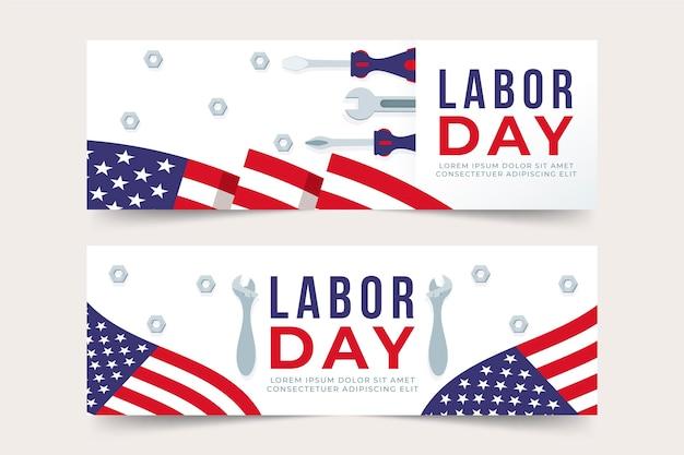 Tema del paquete de banners del día del trabajo