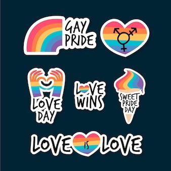 Tema del paquete de etiquetas del día del orgullo