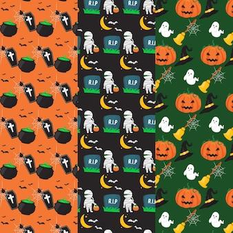Tema del paquete de patrones de halloween