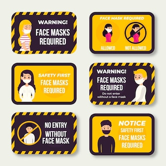 Tema de paquete de signos de máscara facial requerida