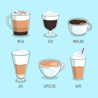 Tema de paquete de tipos de café