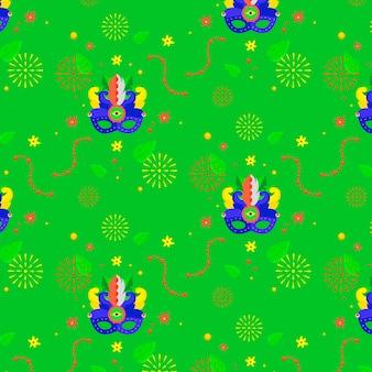 Tema de patrón de carnaval brasileño de diseño plano