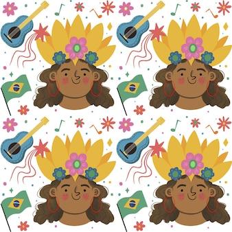 Tema de patrón de carnaval brasileño vector gratuito