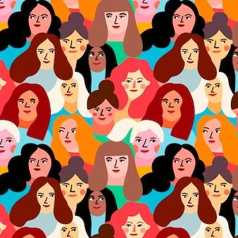 Tema para el patrón del día de las mujeres con caras de mujeres