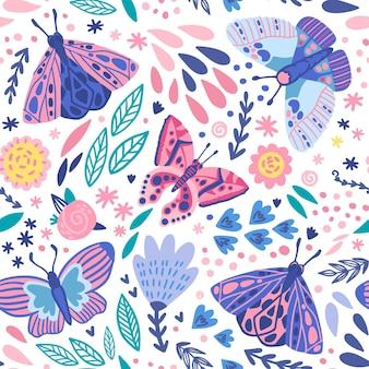 Tema del patrón de insectos y flores
