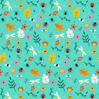 Tema de patrón de insectos y flores.