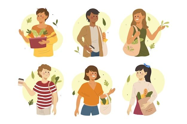 Tema de personas de estilo de vida verde para ilustración