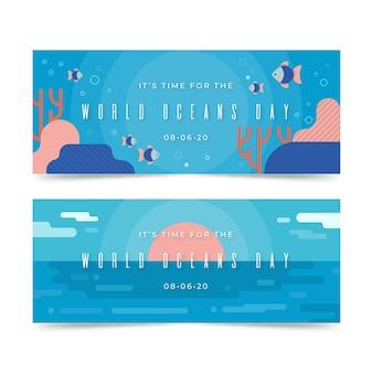 Tema de plantilla de banners del día mundial de los océanos