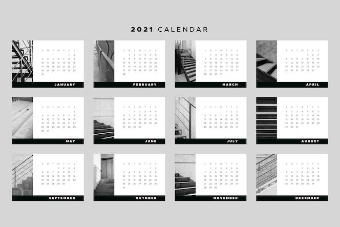 Tema de plantilla de calendario 2021