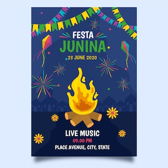 Tema de plantilla de cartel de festa junina de dibujo