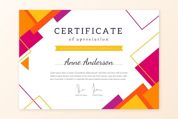 Tema de plantilla de certificado geométrico abstracto