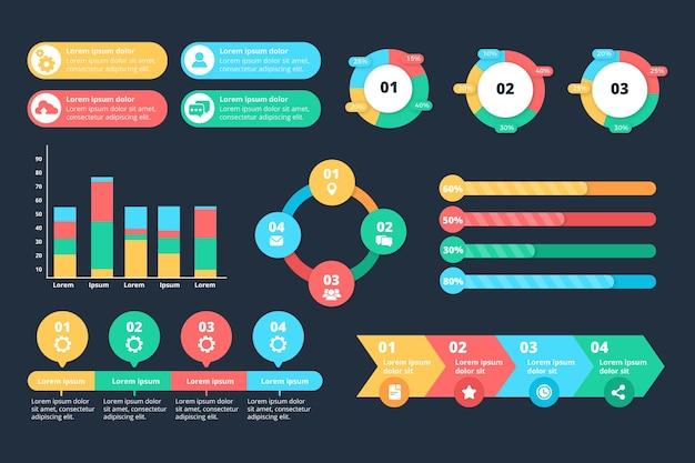 Tema de plantilla de colección de elementos de infografía