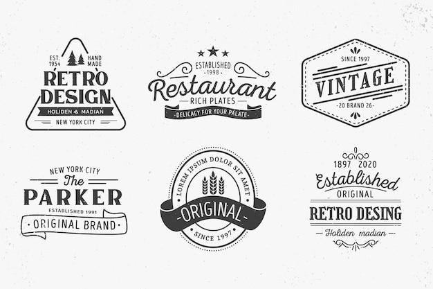 Tema de plantilla de colección de logotipo retro