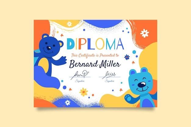 Tema de plantilla de diploma para niños
