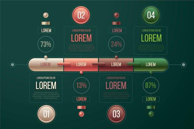 Tema de plantilla de infografía brillante 3d