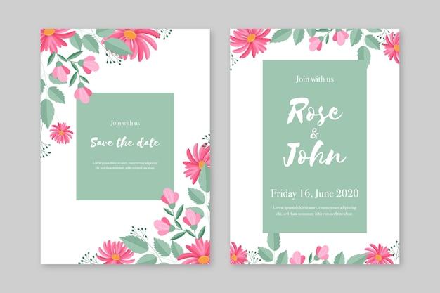 Tema de plantilla de invitación de boda elegante