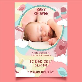 Tema de plantilla de invitación de ducha de bebé niña