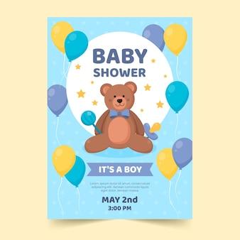 Tema de plantilla de invitación de ducha de bebé niño