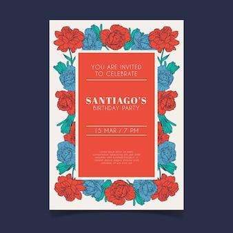 Tema de plantilla de invitación de tarjeta de cumpleaños floral