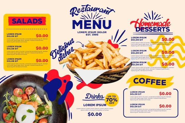 Tema de plantilla de menú de restaurante digital