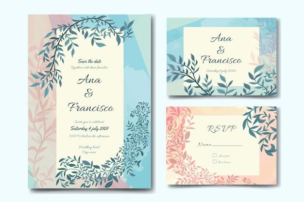 Tema de plantilla de papelería de boda