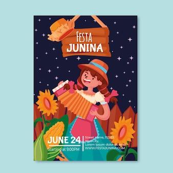 Tema de plantilla de póster festa junina